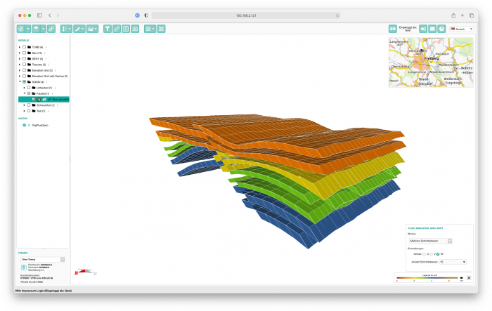Display of several volumetric slices of a stratigraphical grid (SGRID) in a web browser in 3d.